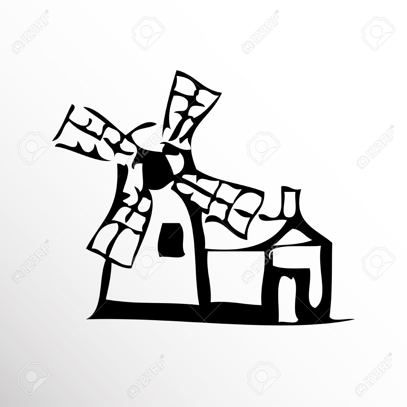 1300x1300 Windmill. Drawing. Sketch Style. Royalty Free Cliparts, Vectors