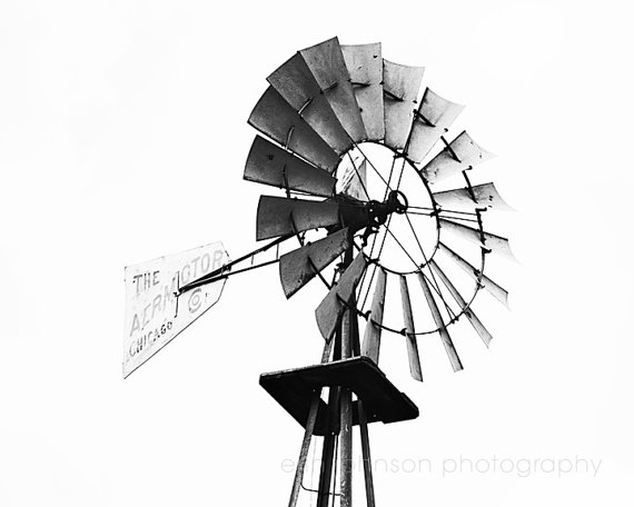 570x456 Rustic Windmill Farm Photography French Country Photograph