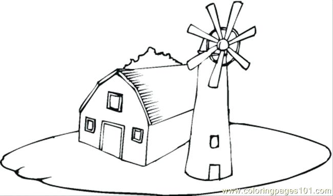 650x384 Farm House Coloring Pages Farmhouse Near The Windmill Coloring