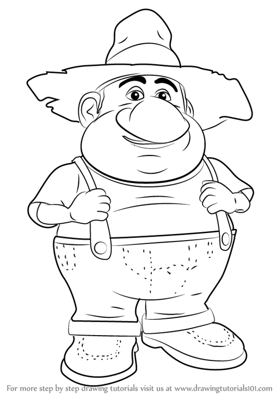 567x800 Learn How To Draw Farmer From Barnyard (Barnyard) Step By Step