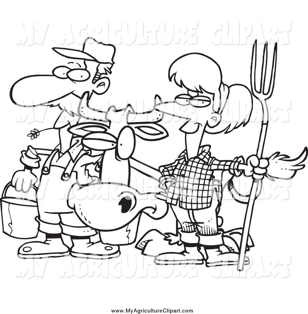 Agriculture Clipart Black And White Farmer Cartoon ...