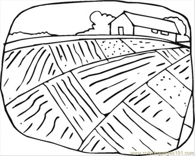 650x519 Farmhouse And The Field Coloring Page