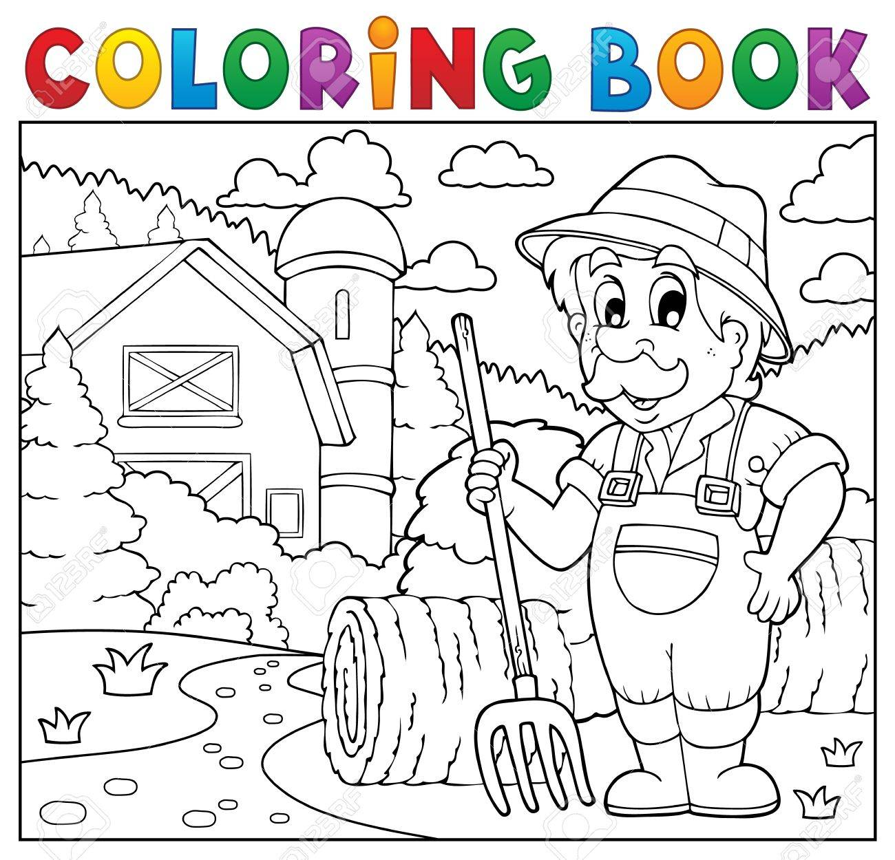 1300x1250 Coloring Book Farmer Near Farmhouse. Royalty Free Cliparts
