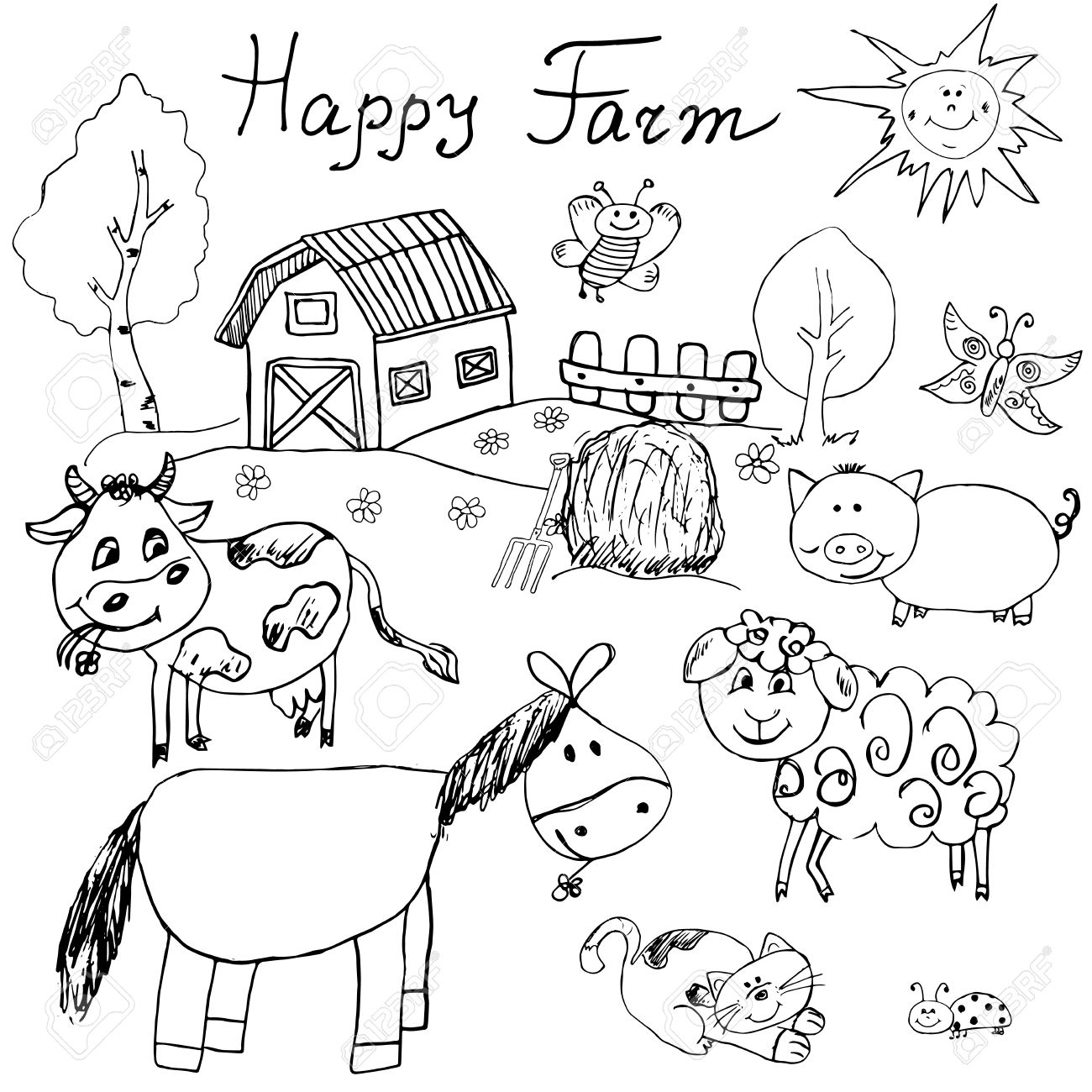 1300x1300 Happy Farm Doodles Icons Set. Hand Drawn Sketch With Horse, Cow