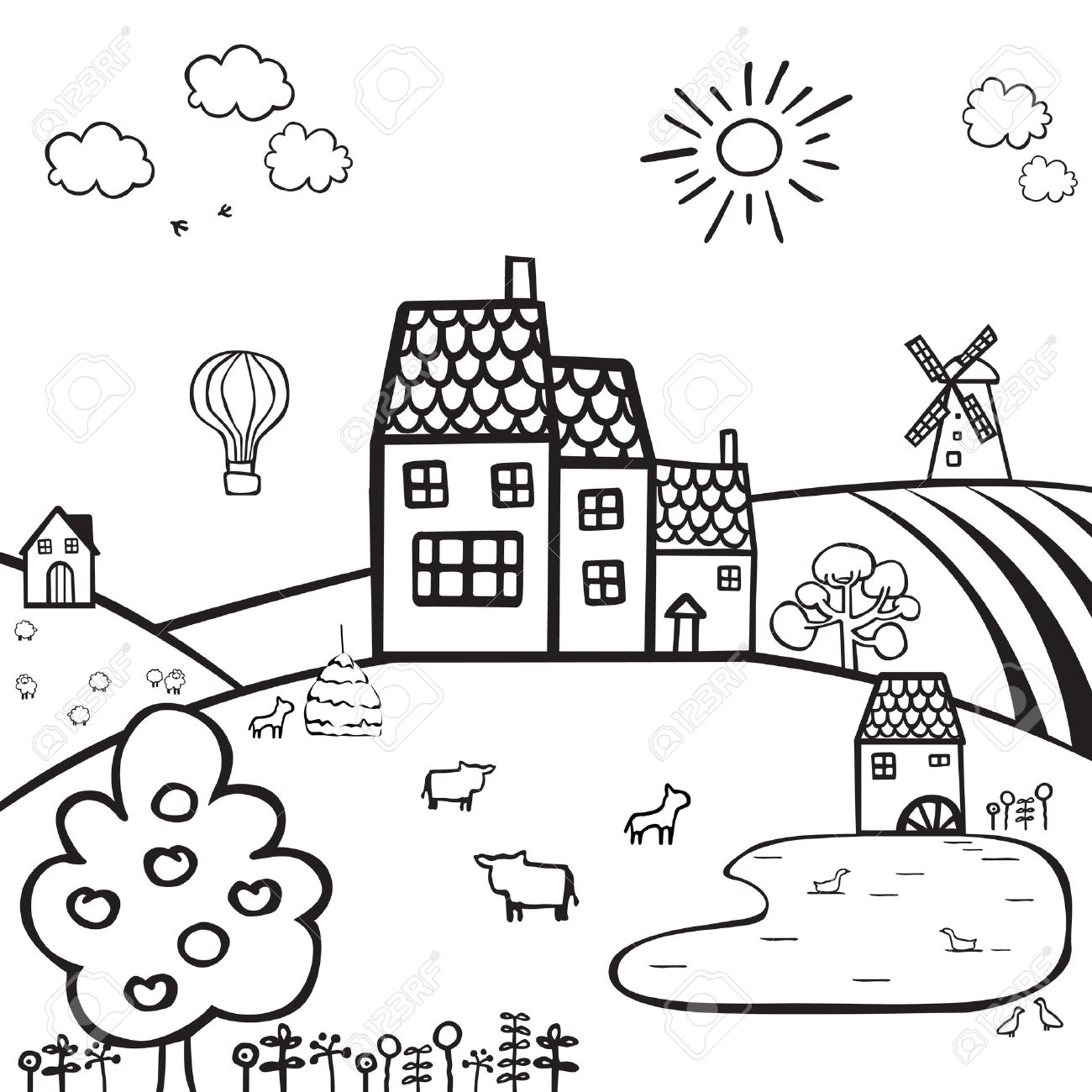 1300x1300 Black And White Drawing Of A Farm On The Hills Royalty Free