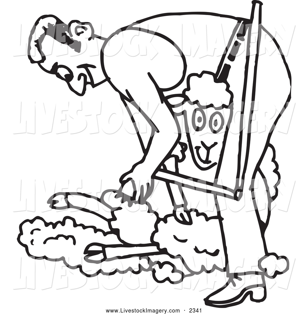 1024x1044 Clip Art Of A Black And White Outlined Farmer Shearing A Sheep By