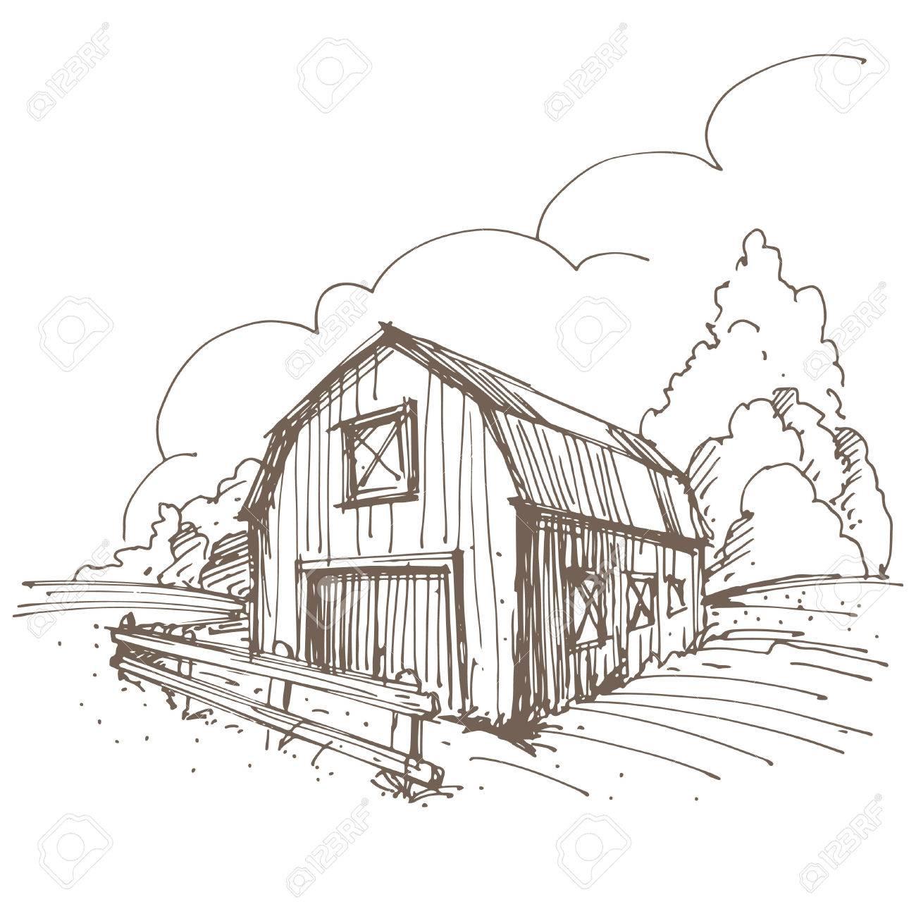 1300x1300 Magnificent Farm Barn Drawing Design Decoration Of Free