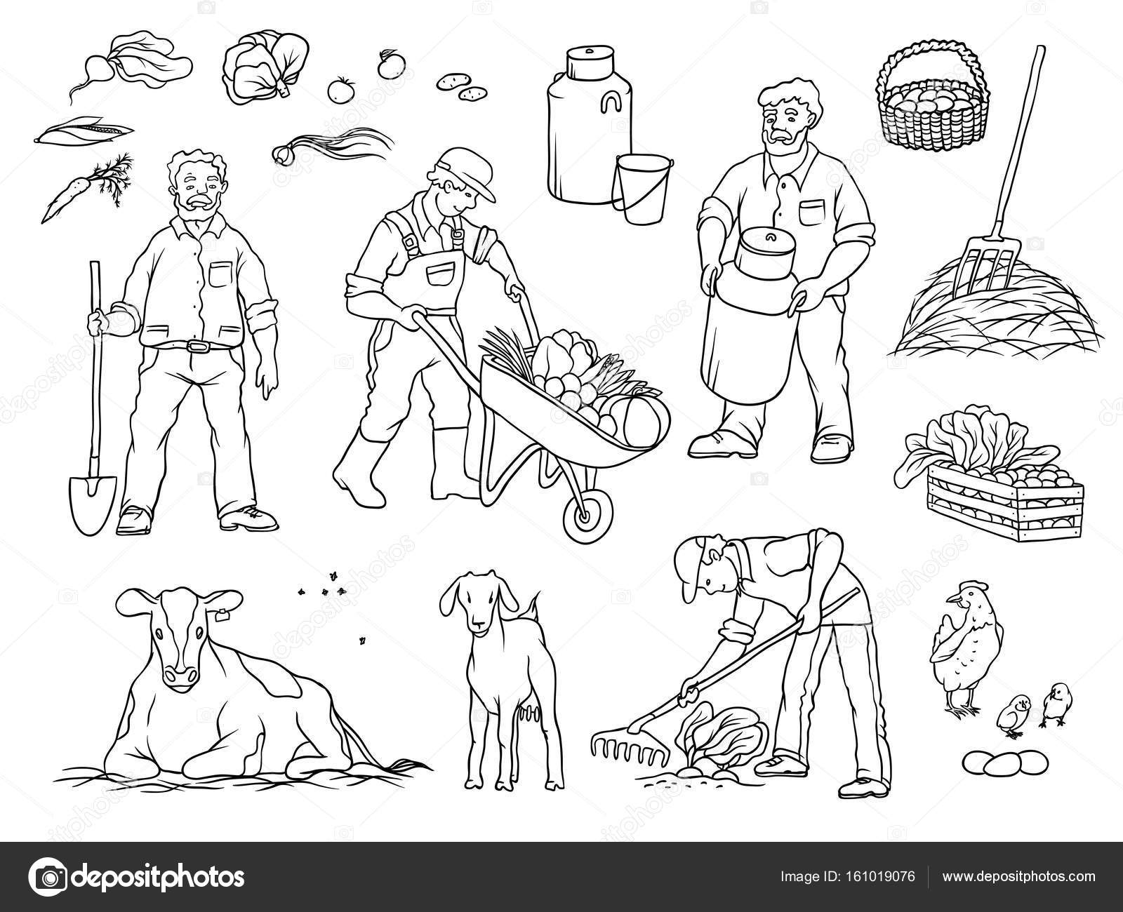 1600x1300 Vector Sketch Set Black And White Isolated Illustration Of Farmers