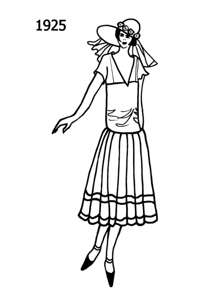700x1000 Costume History Silhouettes 1924 1925 Free Line Drawings