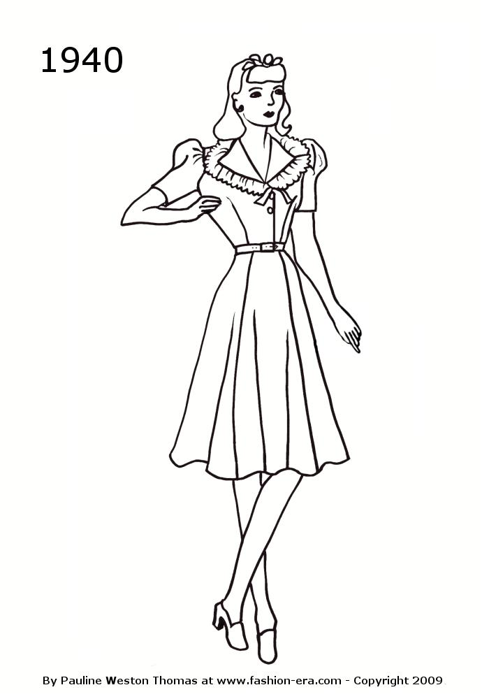 700x1000 Costume History Silhouettes 1940s Free Timeline Drawings Womens