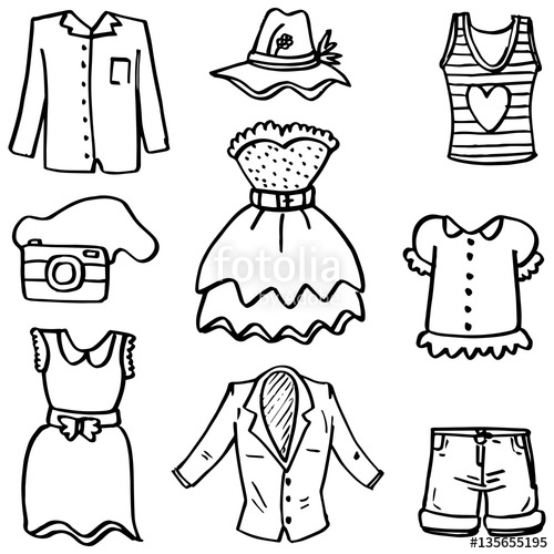 500x500 Doodle Of Women Fashion Clothes Hand Draw Stock Image And Royalty