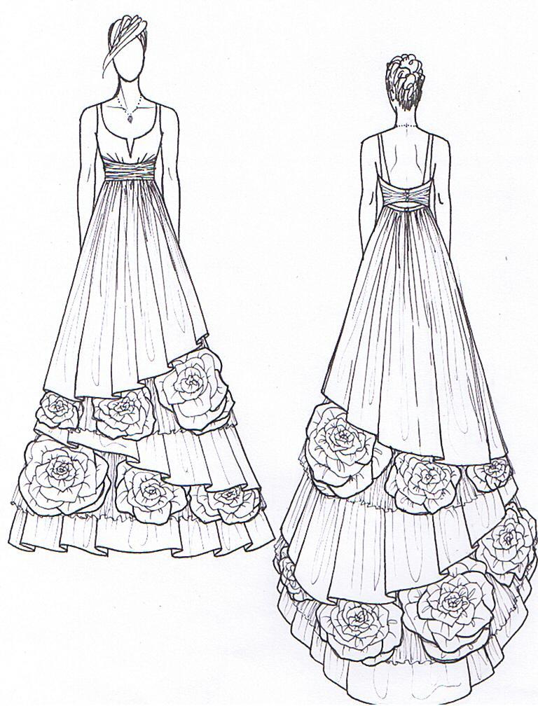 768x1008 Drawn Gown Dress Sketch