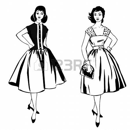449x450 Stylish Fashion Dressed Girls 1950 S 1960 S Style Retro Fashion