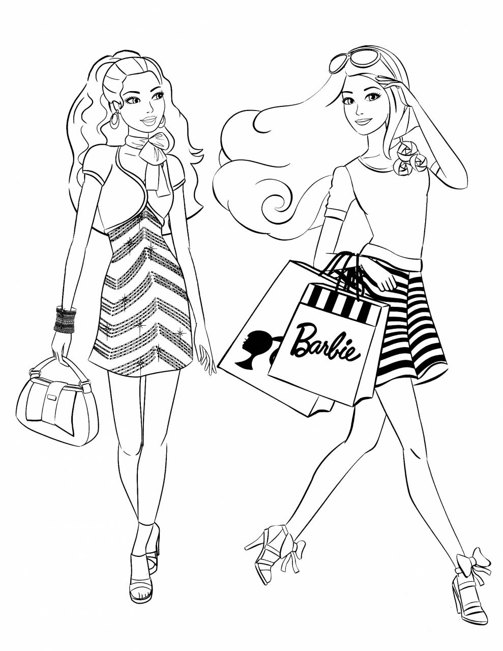 989x1279 Barbie Coloring Pages Gameskidsfreecoloring Net Free Fashion