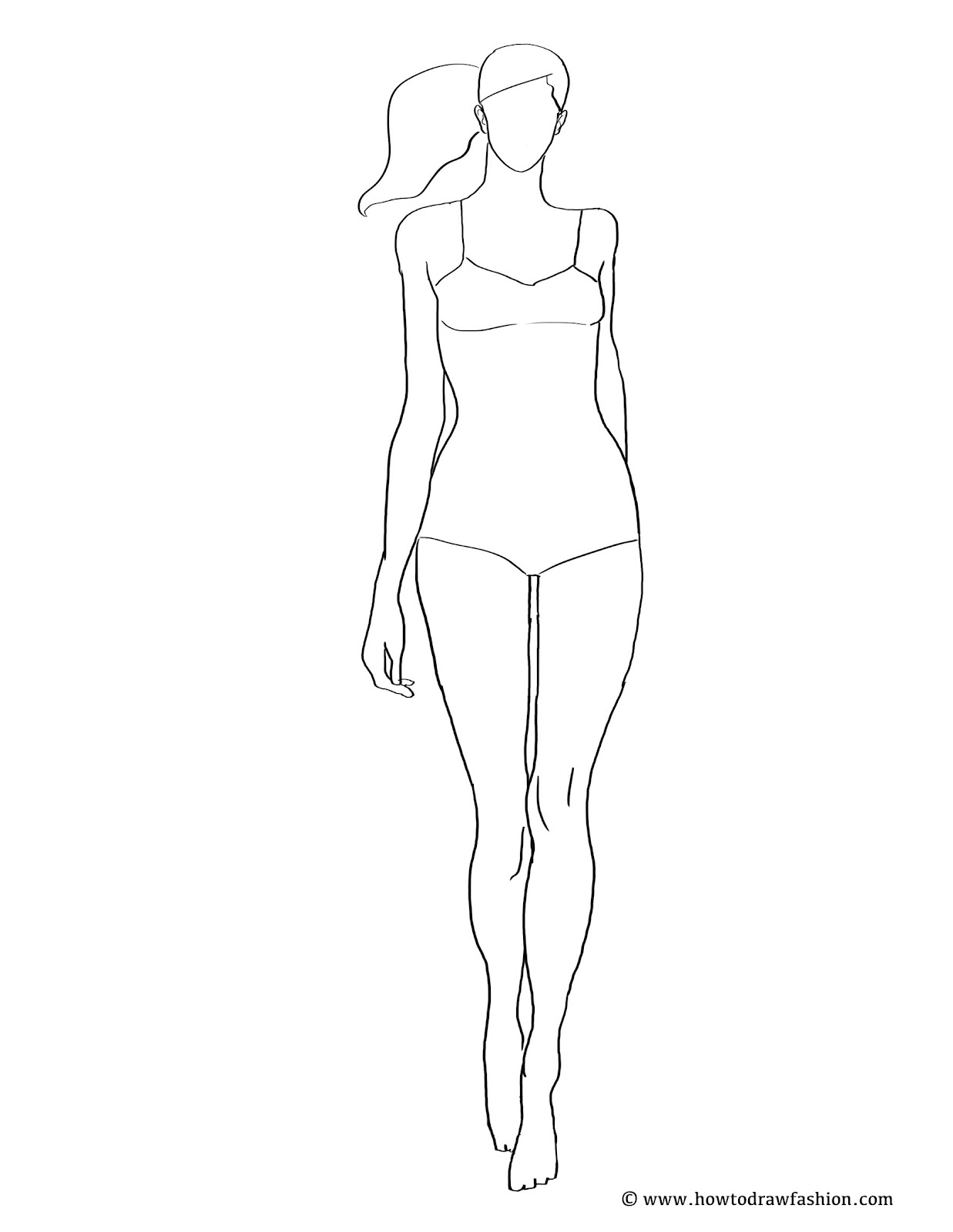 Fashion drawing free at free for for Textiles body templates