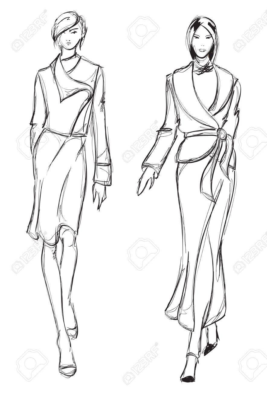 884x1300 Sketch. Fashion Girl. Hand Drawn Fashion Model Royalty Free
