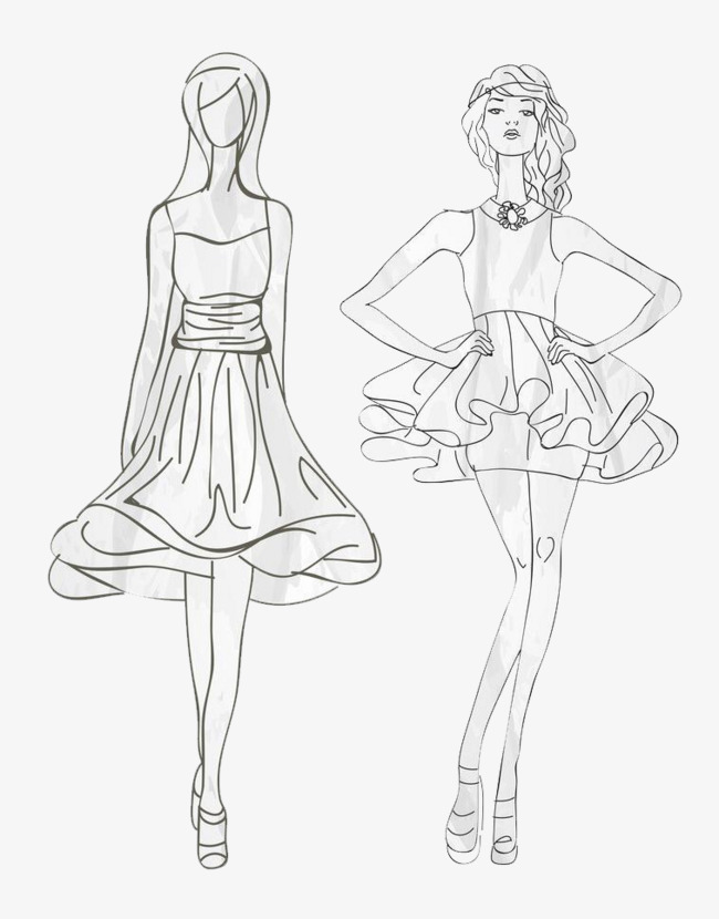 650x830 Line Dress Model, Line Drawing, Line Dress Painting, Fashion