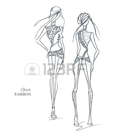 375x450 Vector Fashion Model. Sketch Silhouette Figure. Hand Draw Model