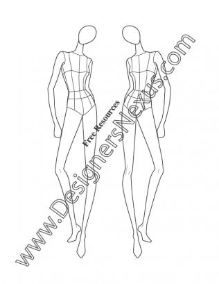 316x409 Female Fashion Model Figure Template V28 Three Quarter Front Pose