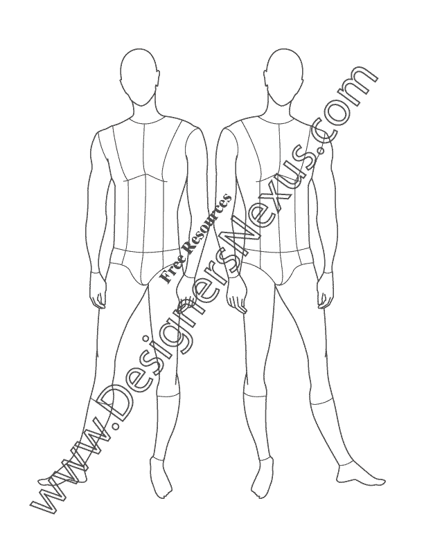 612x792 Male Croquis Free Mens Fashion Figure Templates