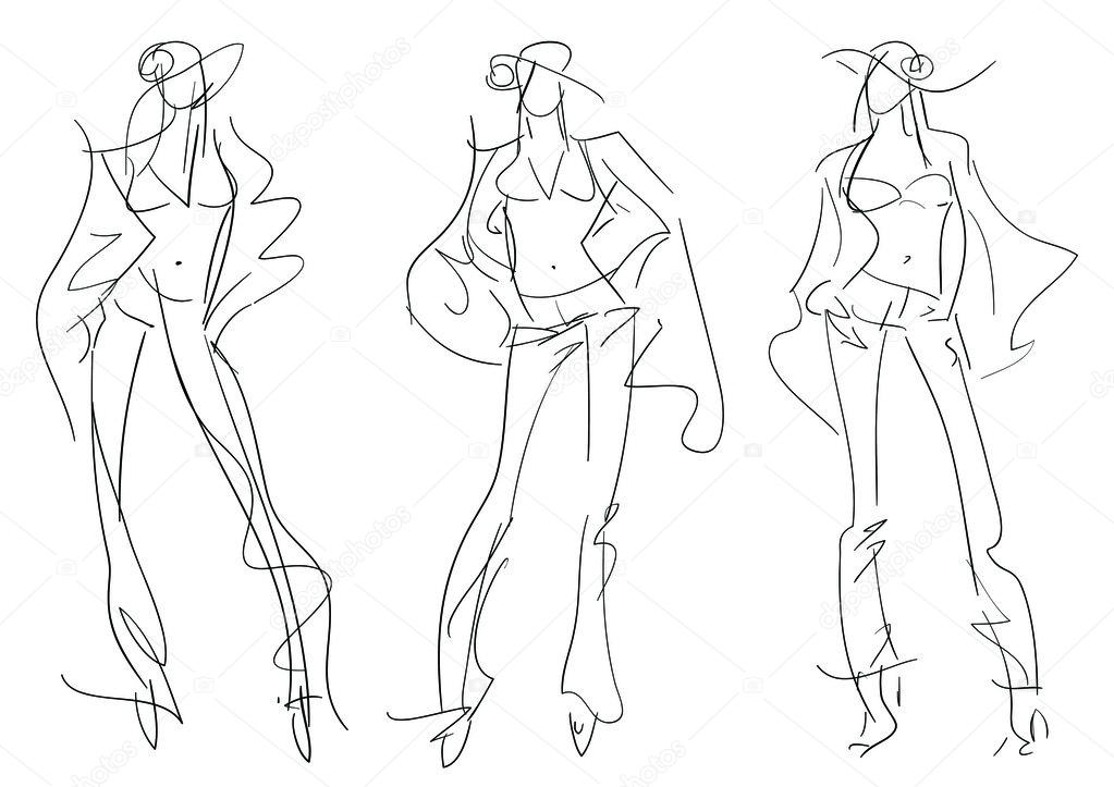 It's just a graphic of Wild Fashion Poses Drawing