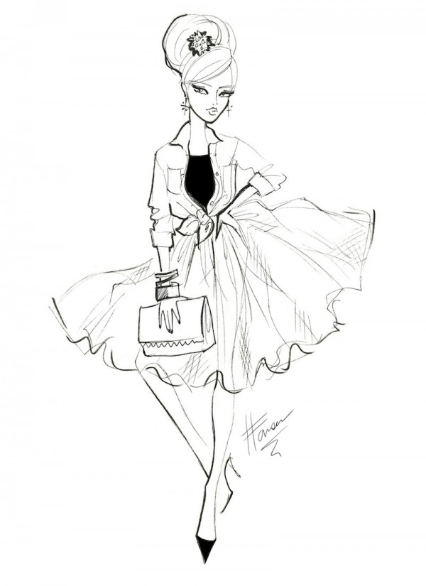 600x825 Fashion Sketch Of A Tulle Skirt Illustrations By Heather Fonseca