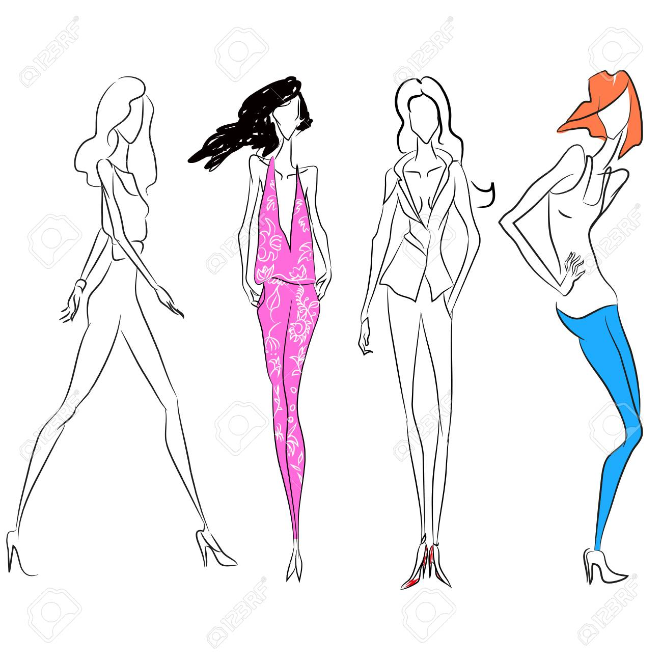 1300x1300 Vector Fashion Line Sketch. Set Of Vector Icons. Models Posing