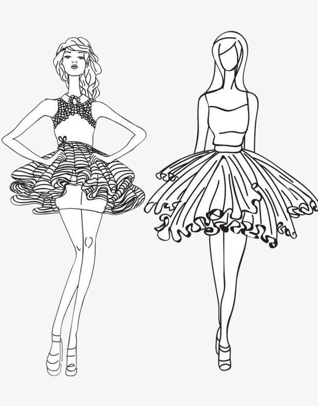 650x830 Line Female Model, Line Drawing, Female Model, Fashion Show Png