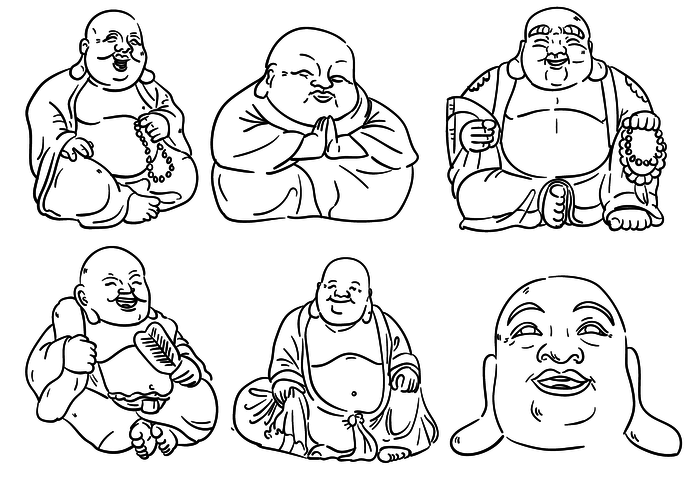 700x490 Fat Buddha Outlines