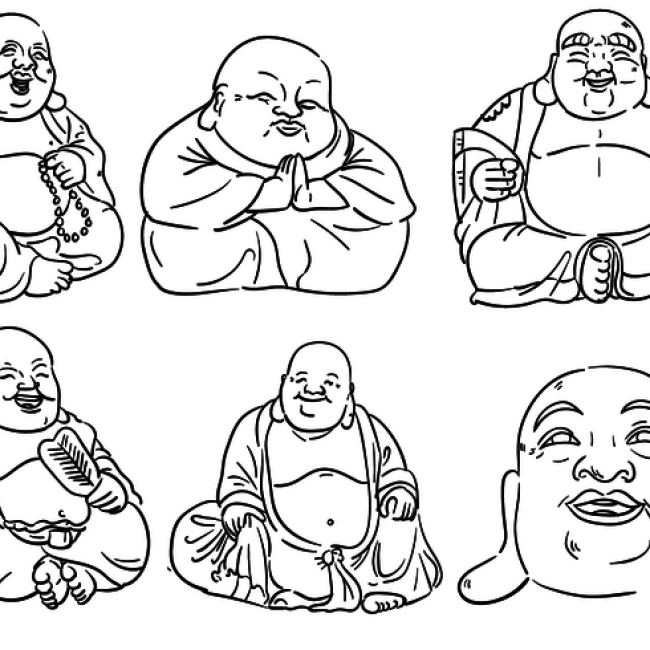 650x650 Free Vector Fat Buddha Outlines