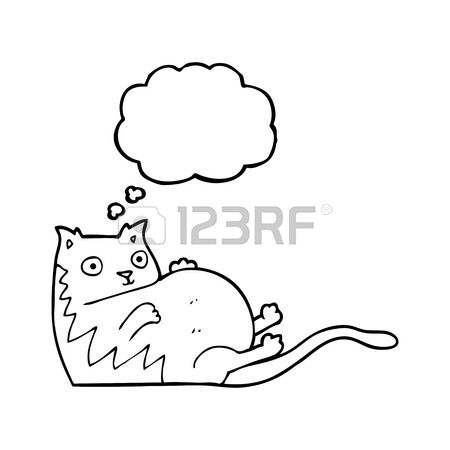 450x450 Freehand Drawn Thought Bubble Textured Cartoon Fat Cat Royalty