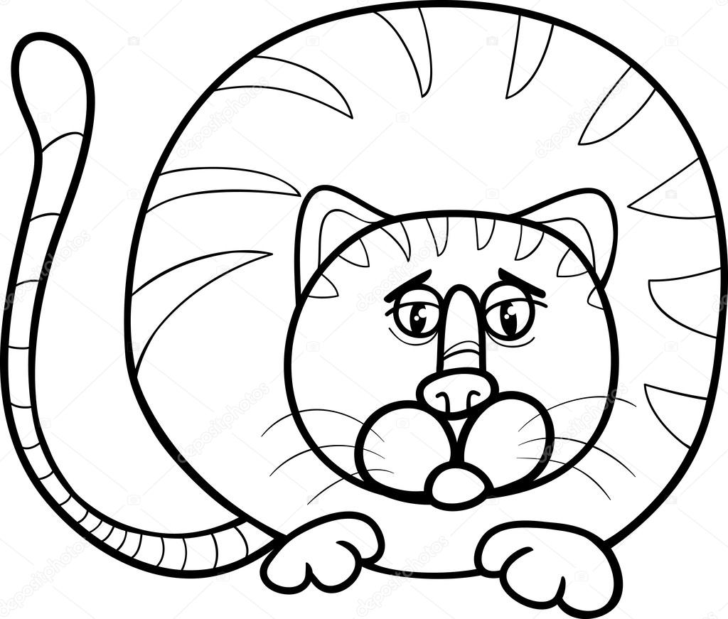 1024x871 Fat Cat Cartoon Coloring Page Stock Vector Izakowski