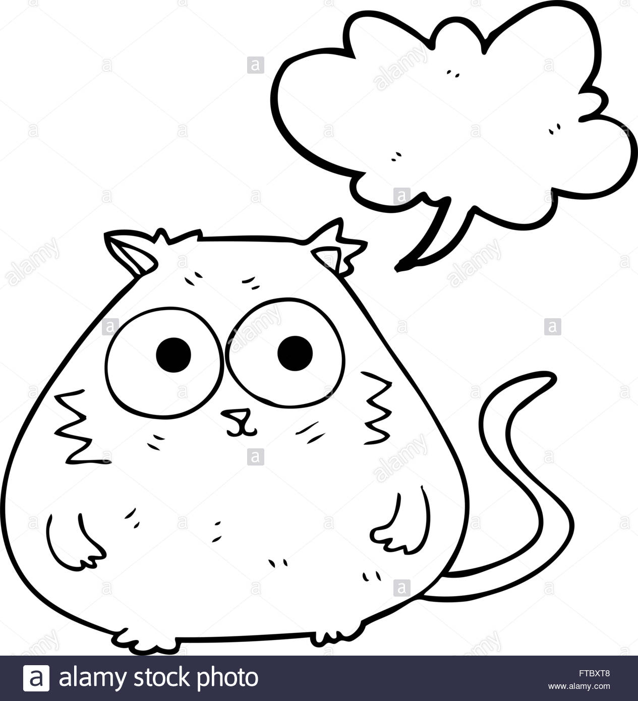 1265x1390 Freehand Drawn Speech Bubble Cartoon Fat Cat Stock Vector Art