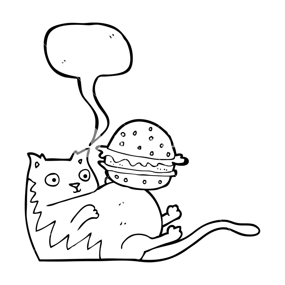 1000x1000 Freehand Drawn Speech Bubble Cartoon Fat Cat With Burger Royalty