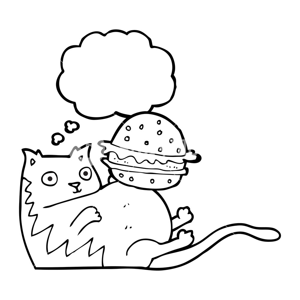 1000x1000 Freehand Drawn Thought Bubble Cartoon Fat Cat With Burger Royalty