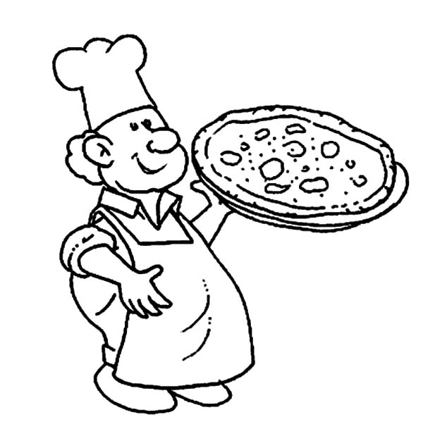 600x619 Fat Chef Making Pizza On Jobs Coloring Pages Batch