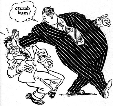 390x367 Fat Man In Pinstrip Suit Pushes A Guy In The Face Cartoon Drawing