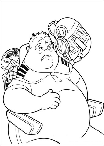 343x480 Wall E And Fat Guy Coloring Page Free Printable Coloring Pages
