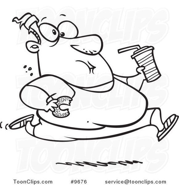 581x600 Cartoon Black White Line Drawing Of A Fat Guy Running