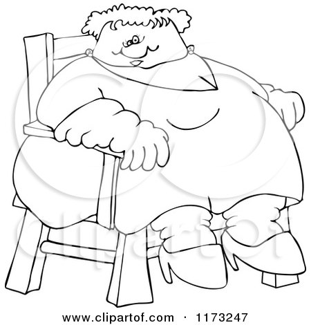 450x470 Cartoon Of An Outlined Circus Freak Fat Lady Sitting In A Chair