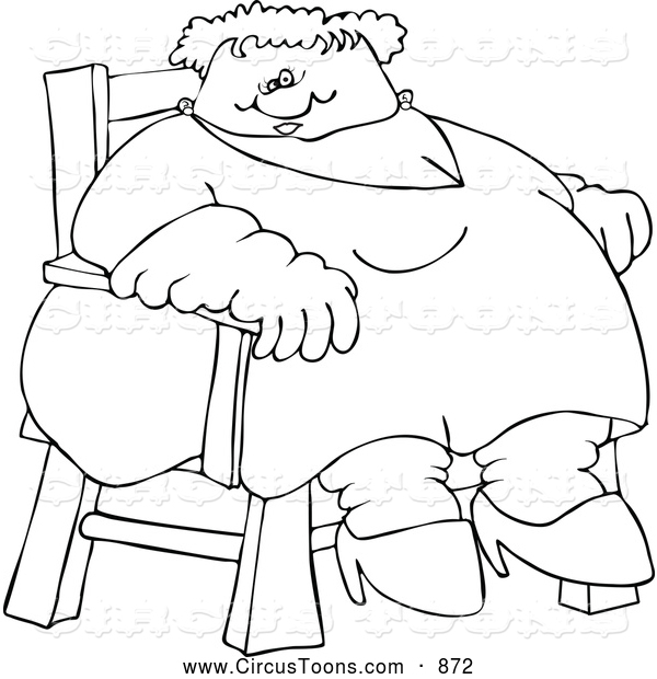 600x620 Circus Clipart Of A Coloring Page Of A Circus Freak Fat Lady