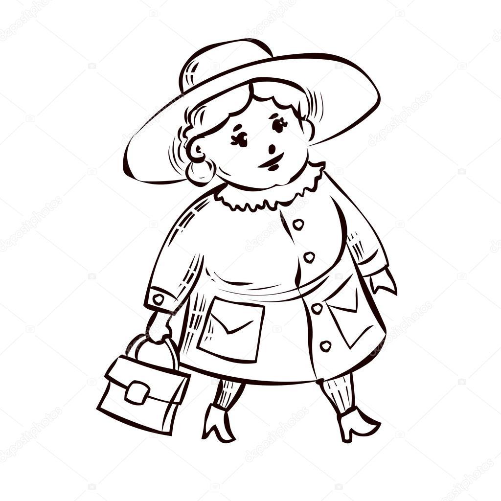 1024x1024 Mature Fat Lady In A Coat Stock Vector Dergriza