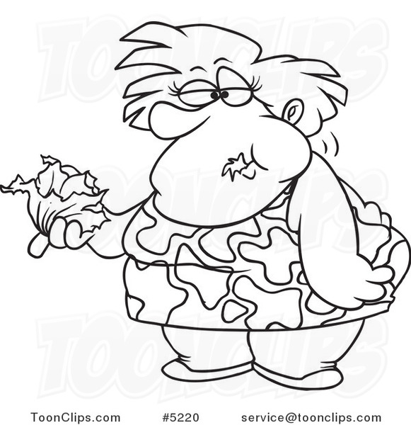 581x600 Cartoon Black And White Line Drawing Of A Fat Lady Eating A Head