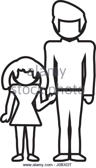 308x540 Dad Daughter Family Outline Vector Stock Photos Amp Dad Daughter