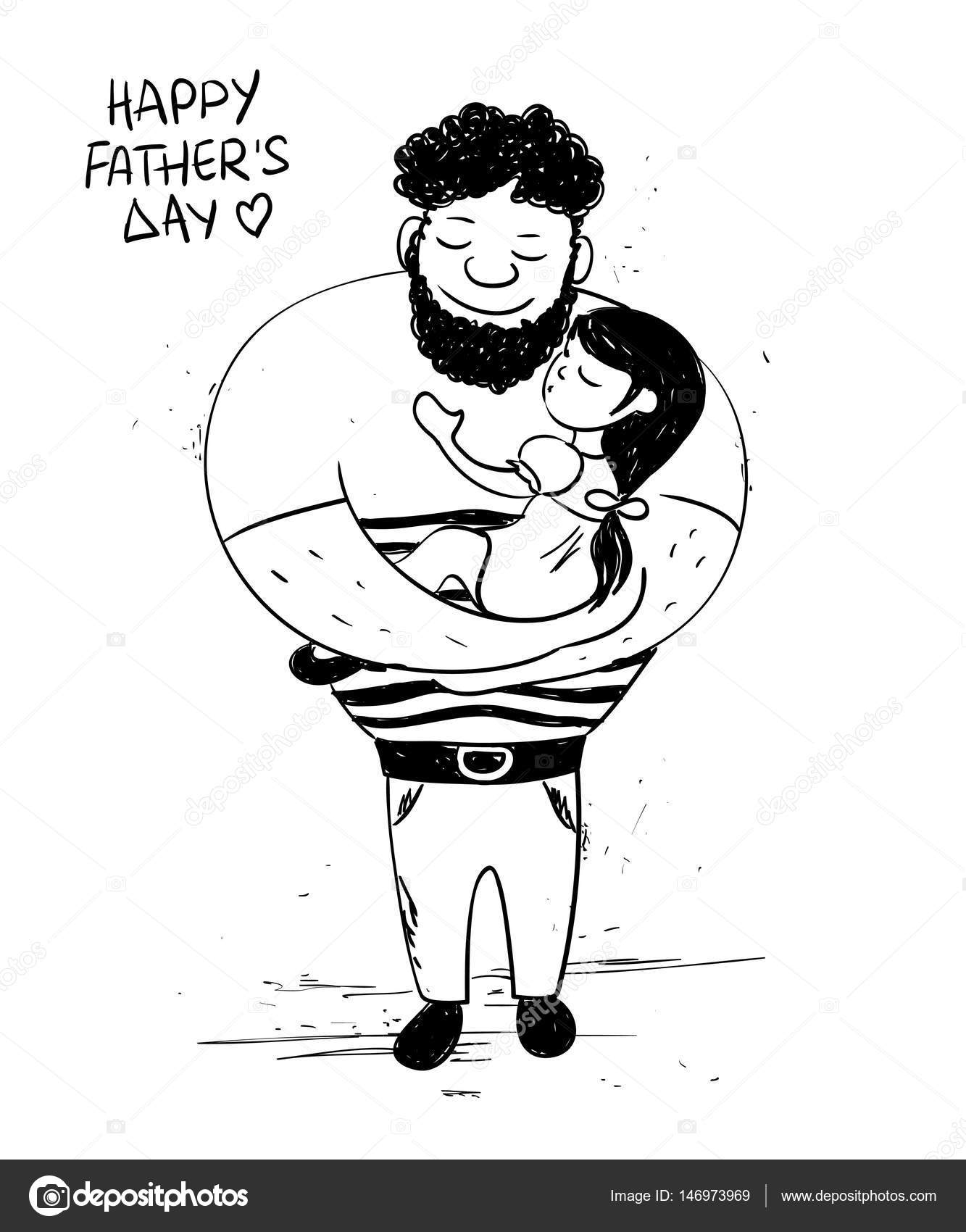 1333x1700 Father's Day Card With Little Daughter Hugging Dad. Stock Vector