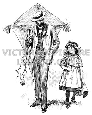 300x375 Father And Daughter Fly A Kite Victorian Picture Library