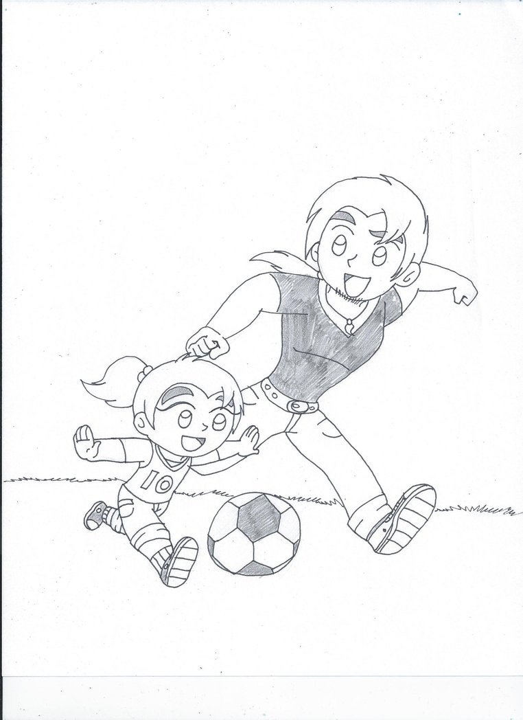 762x1048 Father And Daughter Soccer Time (Uncolored) By Xsreiki772