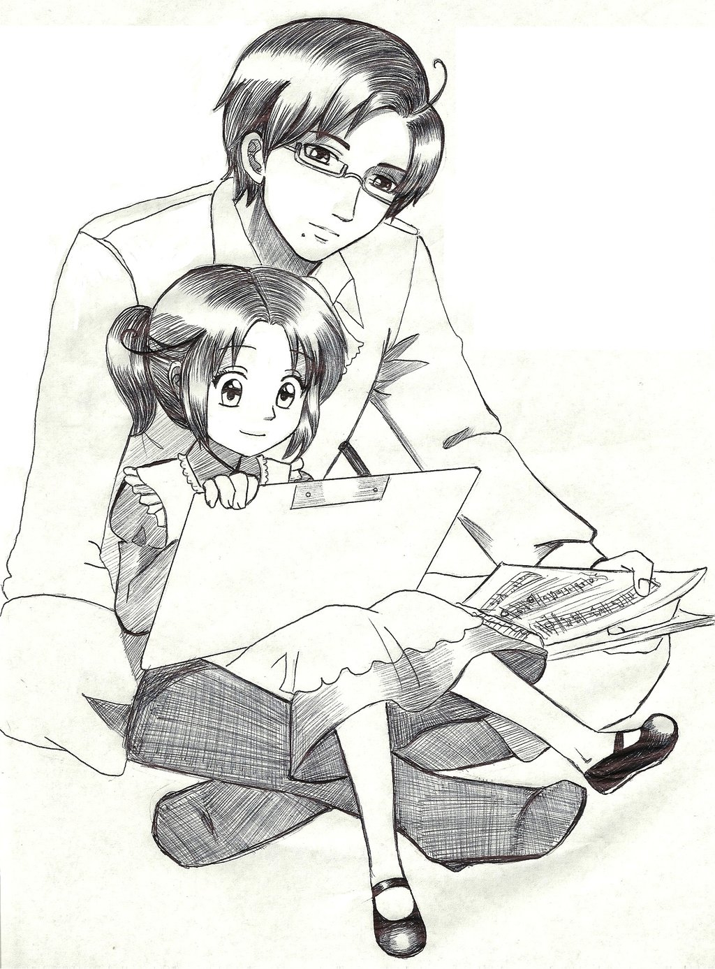 1024x1387 Sketch Of A Girl With Daughter Austria Italia As Father