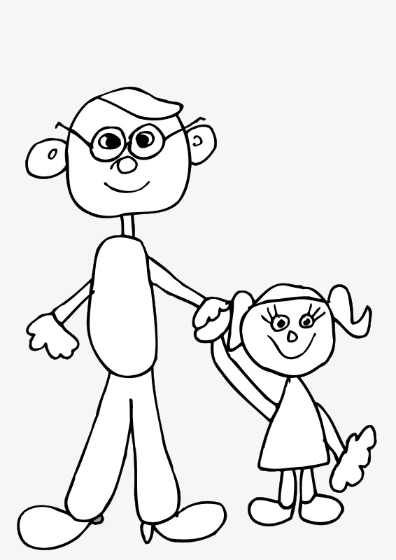 566x800 Stick Figure Father And Daughter, Jane Pen, Father, Daughter Png