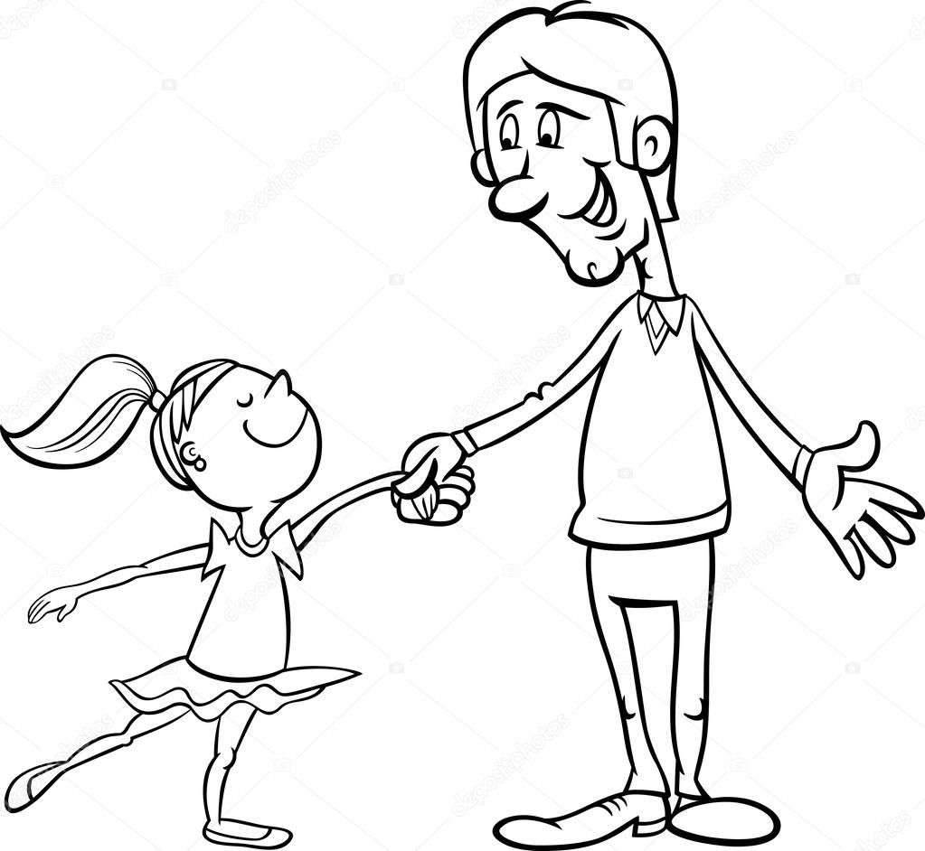 1023x942 Father And Daughter Coloring Page Stock Vector Izakowski